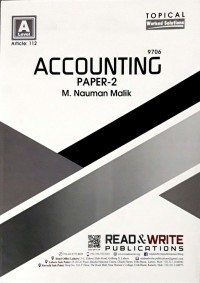 A/L AS Levels Accounting Paper - 2 Article No. 112