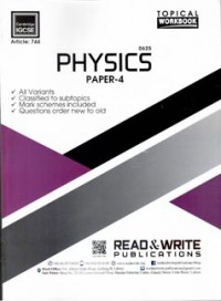 IGCSE Physics Paper 4 (Topical) Work Book - Article No. 744